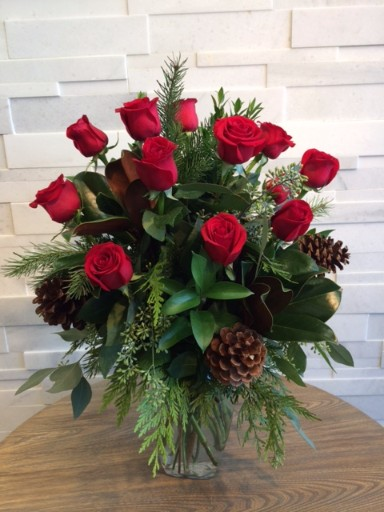 Holiday Roses Arranged