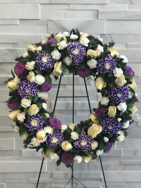 Purple Garden Wreath, Sympathy Flowers